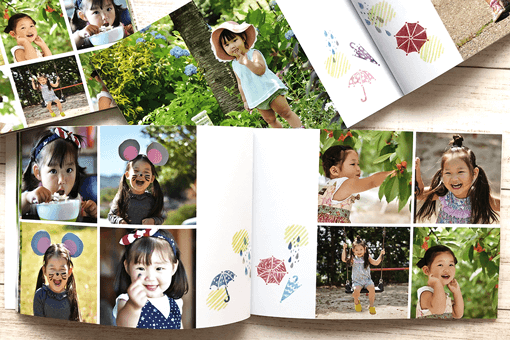 Our mini-albums have cute illustrations with the same design on the middle pages as well as on the cover page.