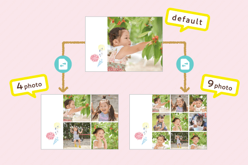 Perfectly compatible with Instagram photos! With the popular square frame, you can put pictures in 1, 4,or  9 divisions.