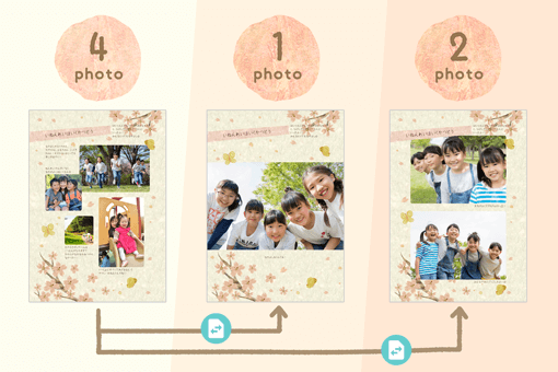 You can select pages with many or few photo frames and change the page composition according to the number of photos that you've prepared.